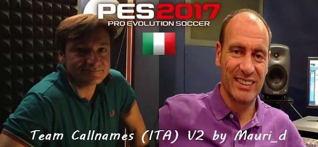Team Callnames for Italian Commentary pes 2017