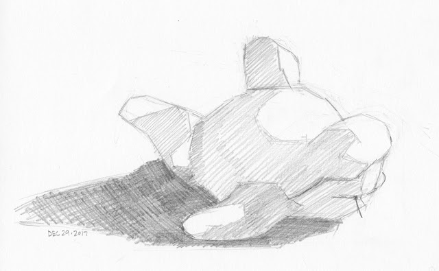 Daily Art 12-29-17 still life sketch in graphite number 87 - plush shark toy