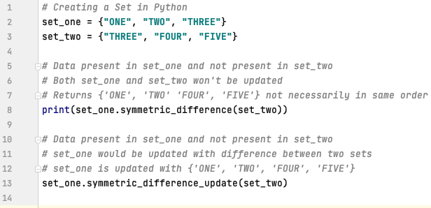 Symmetric difference between sets in Python