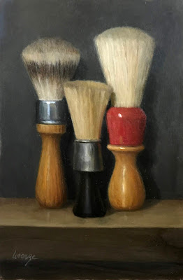 Vintage shaving brushes, original oil painting, barber, antique brushes