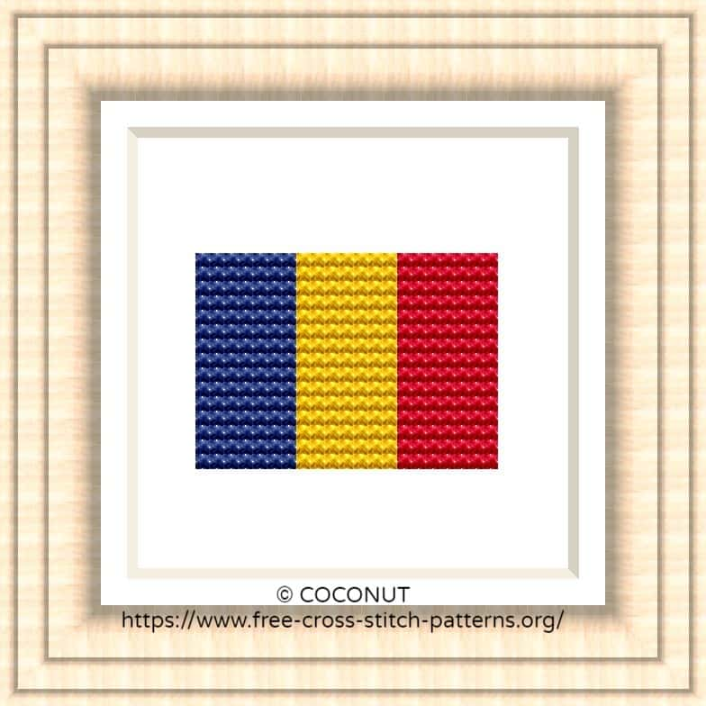 NATIONAL FLAG OF ROMANIA CROSS STITCH CHART