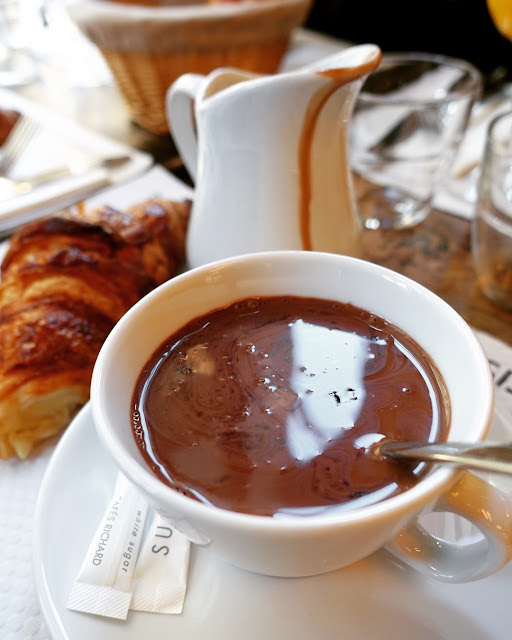 Hot Chocolate and Croissant from Cafe Saint Regis in Paris - incredible!