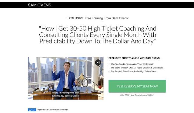 sam ovens online event signup page evergreen webinar