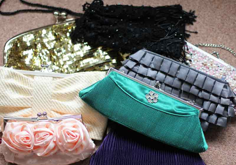 selection of sequinned evening bags in different colours