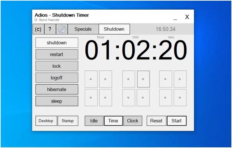 Adios  -  Shutdown Timer :  Προγραμματίστε το αυτόματο κλείσιμο του υπολογιστή σας
