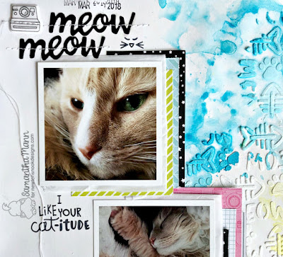 Purr-fect Priorities Layout by Samantha Mann for Newton's Nook Designs, Scrapbook, Layout, Mixed Media, Watercolor, #newtonsnook #layout #scrapbook #petlayout #mixedmedia #watercolor