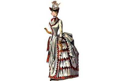 Figure: Do you know the name of the Victorian invention that causes the shape at the back of this dress?