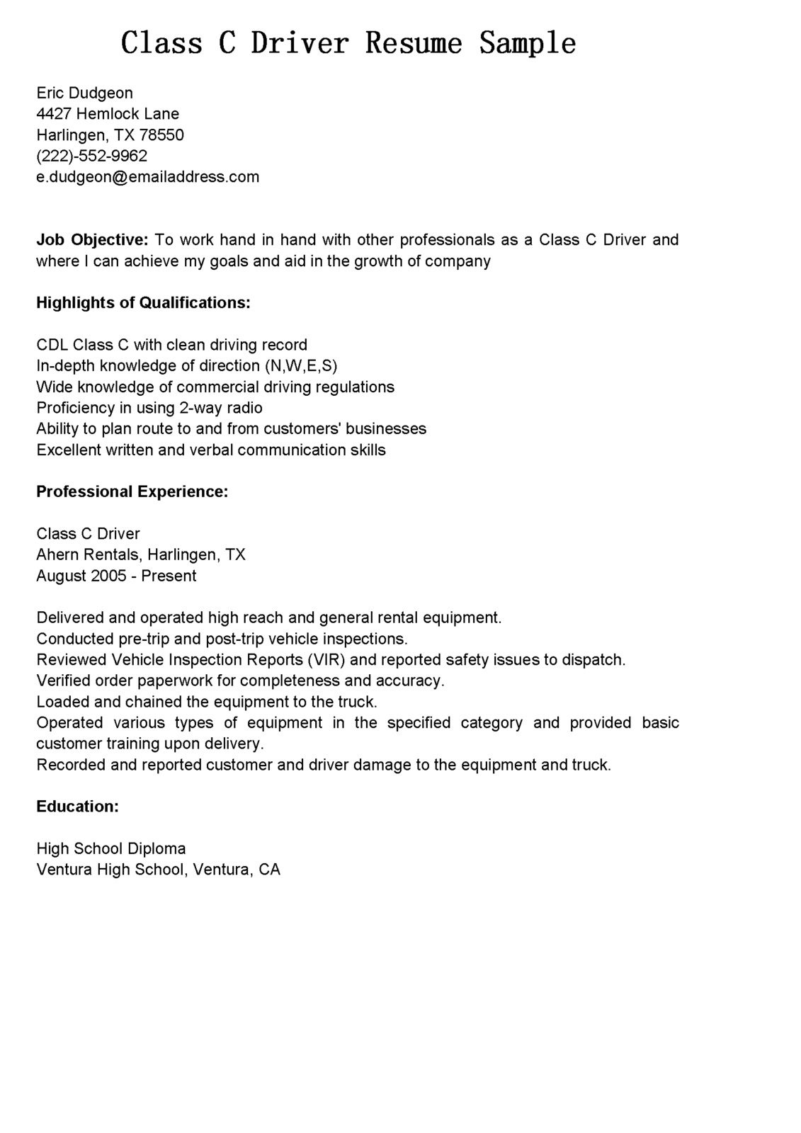 driver resumes  class c driver resume sample