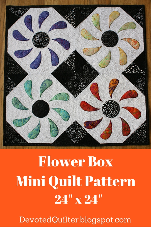 Flower Box Mini Quilt Pattern | DevotedQuilter.blogspot.com
