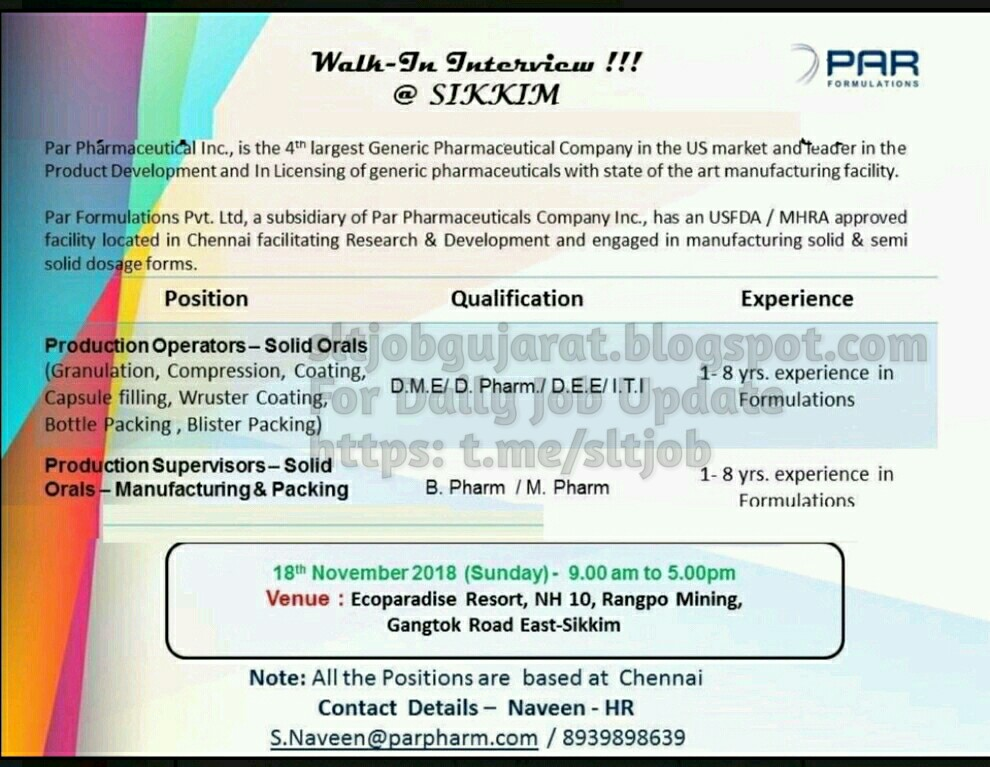 PRIVATE JOB GUJARAT: Par Formulation Pvt Ltd