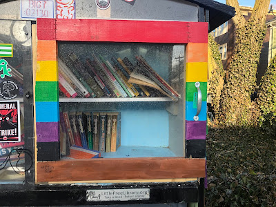Faraway shot of Little Free Library box in Jamaica Plain