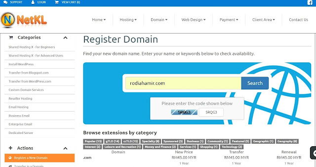 Domain registration di NetKL