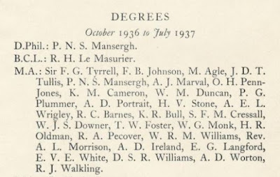 Pembroke College Register 1936-1937 E.V.E. White graduated with an MA