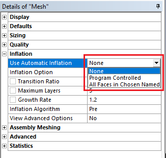 inflation option in ansys