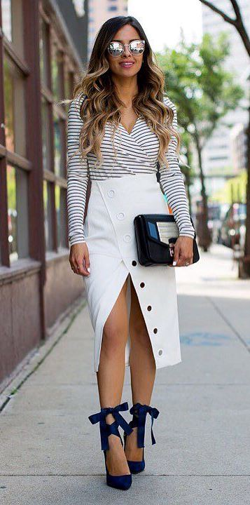 white and black business style outfit