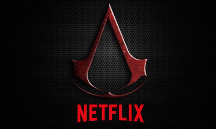 Imagem de capa: fundo escuro com padrão de grade e a logo do Assassin's Creed, um triângulo como um compasso vermelho escuro e metálico e abaixo a logo de Netflix, o nome da empresa em vermelho formando um arco.