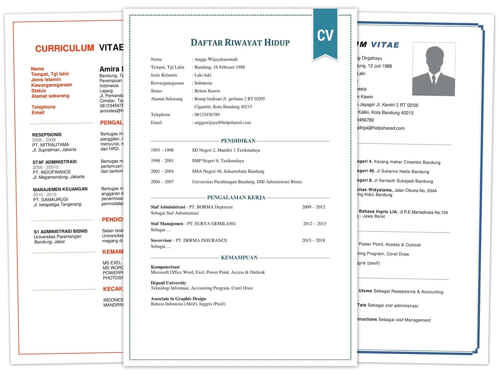Contoh Daftar Riwayat Hidup Cv Format Doc Pdf Yang Baik Dan Benar