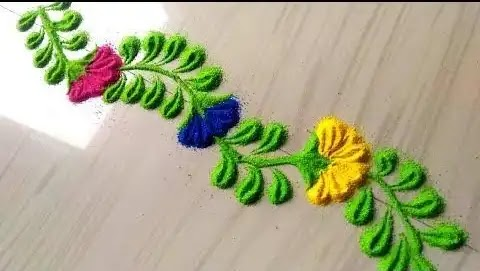 green boder rangoli design