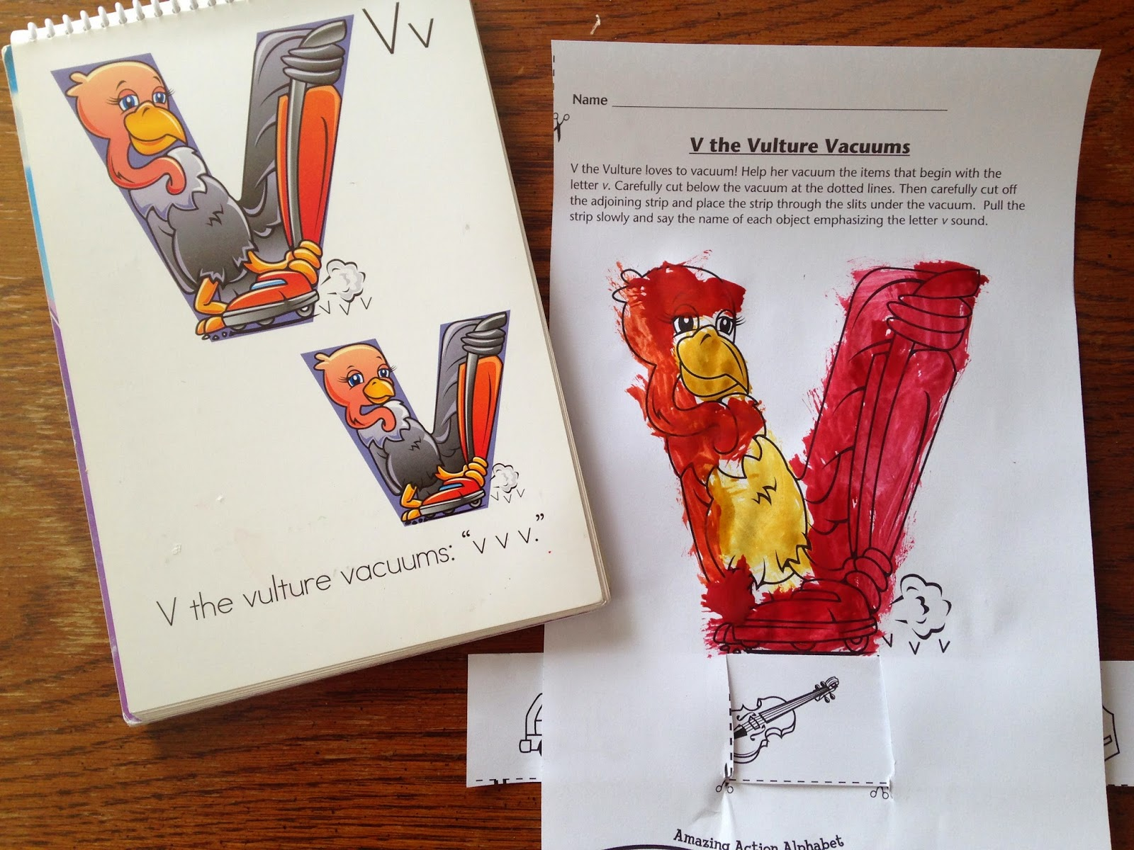 Amazing Action Alphabet Letter V The Vulture Vacuums With Preschoolers