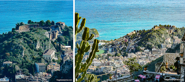 Sicília: o Teatro Grego de Taormina visto de Castelmola