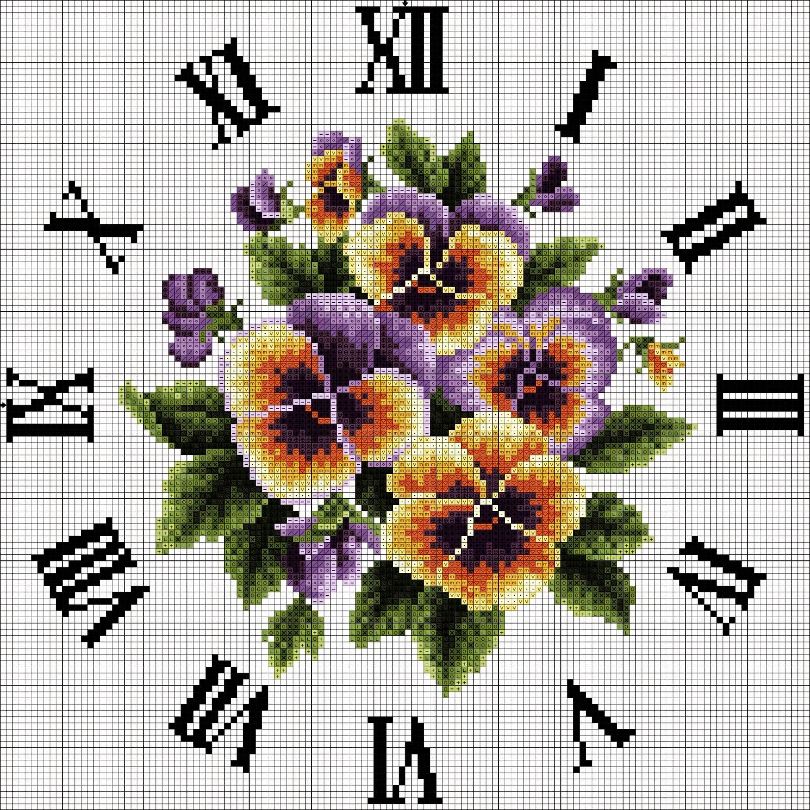 Hobby lavori femminili ricamo uncinetto maglia for Orologio punto croce schemi gratis