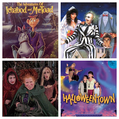 a collage of four fall movies including Hocus Pocus, Halloweentown, Beetlejuice, and Ichabod Crane