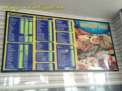 senarai menu restoran Hidayat RHM