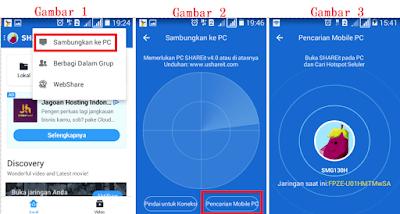 Contoh ilustrasi gambar cara menghubungkan shareit di laptop dengan hp android