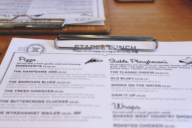 The Stable Winchester Menu