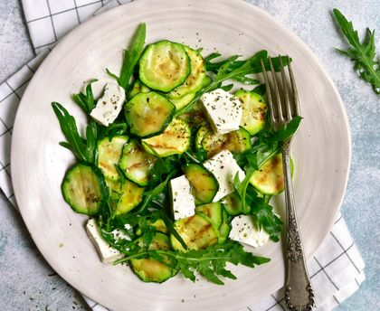 Tender and crunchy (but cooked) zucchini salad!