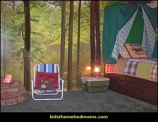 camping theme bedroom decorating ideas-boys camping themed bedroom
