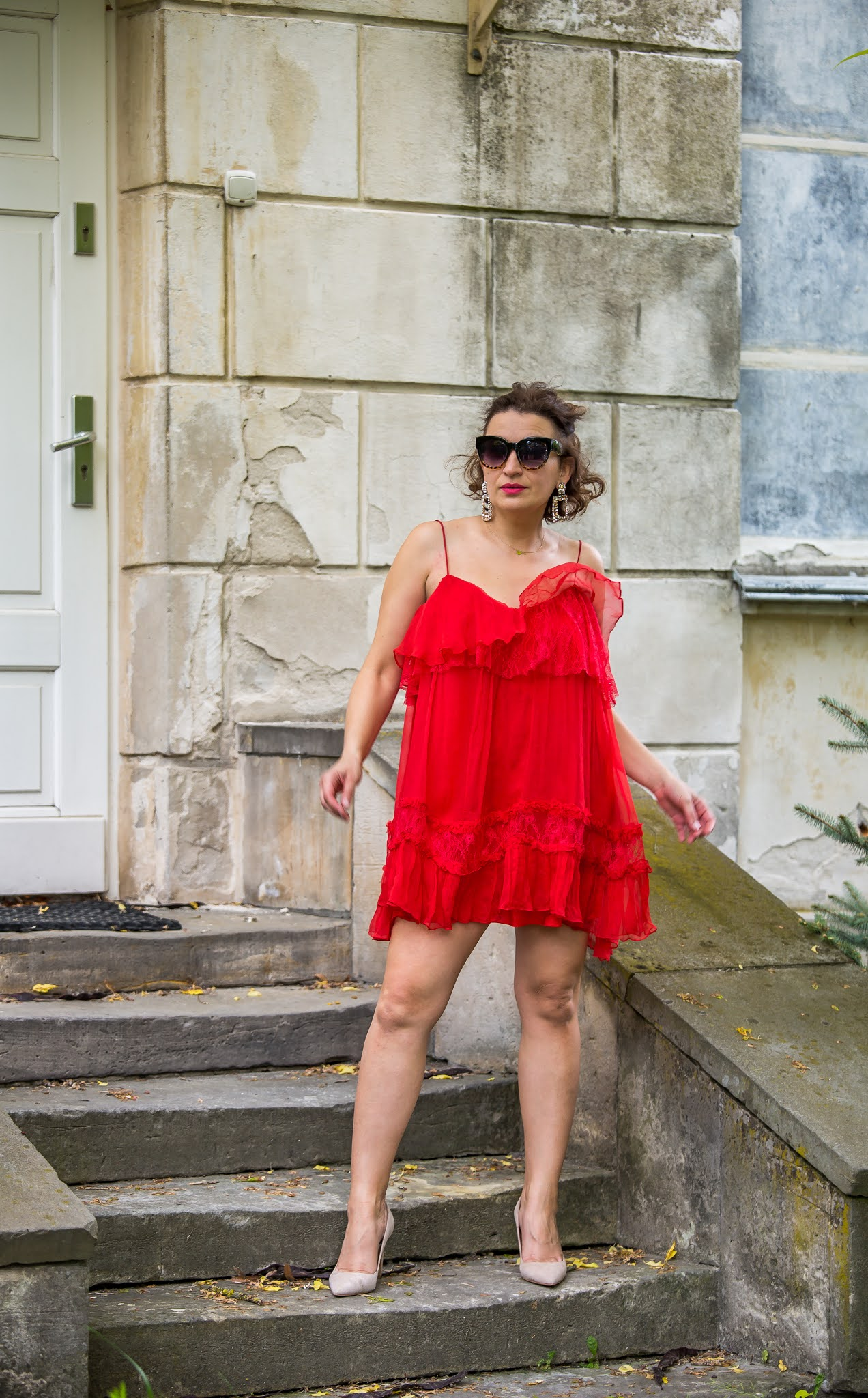 Delicate and Feminine Red Nissa Dress