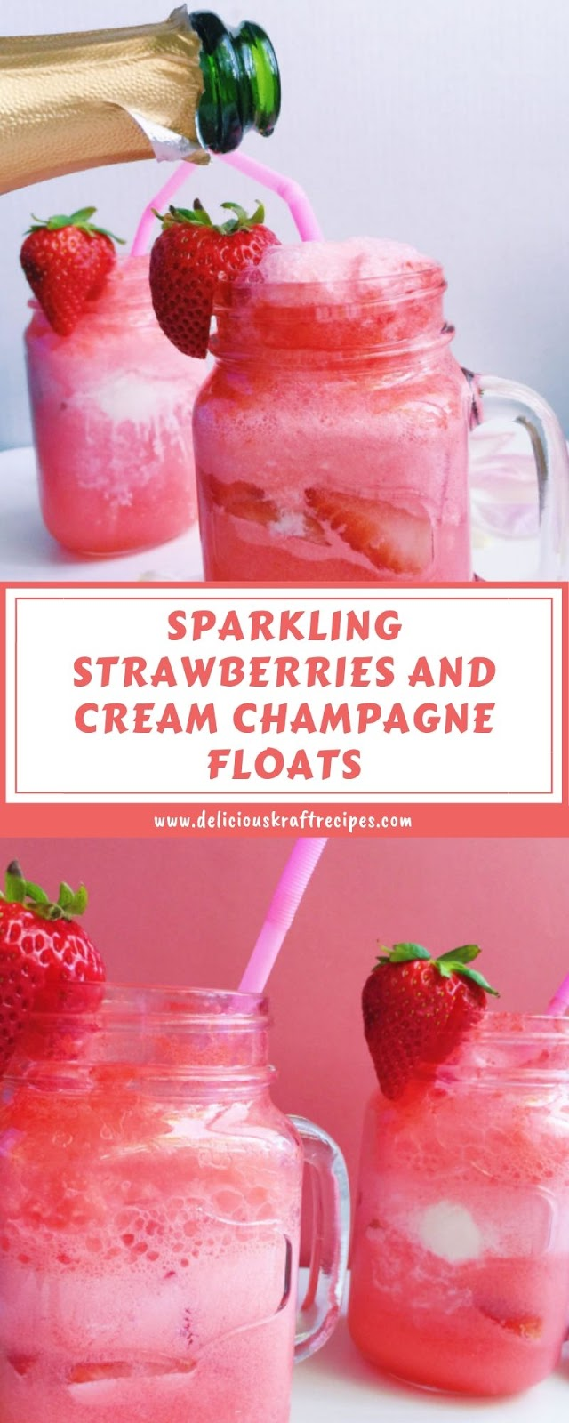 SPARKLING STRAWBERRIES AND CREAM CHAMPAGNE FLOATS