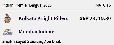 Mumbai Indians match 2 ipl 2020
