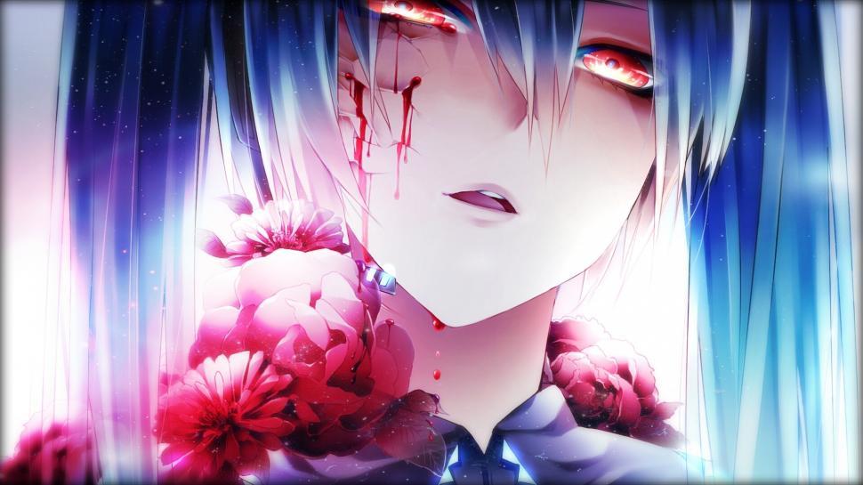 anime girl crying blood