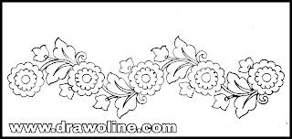 Simple embroidery saree border design drawing/Sadi ka kinara drawings images free