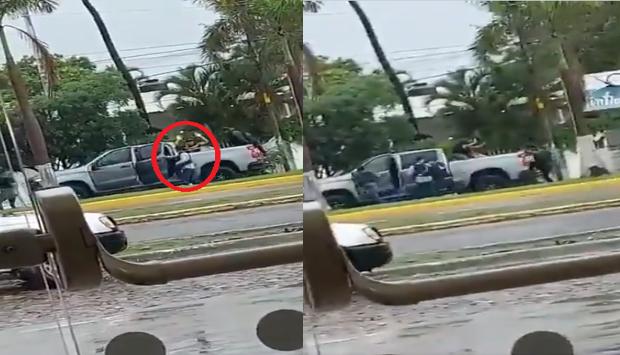 Video: A la luz del día y frente a la mirada de la gente Sicarios del CJNG realizan un levantón, lo encañonaron y se los llevaron en la caja