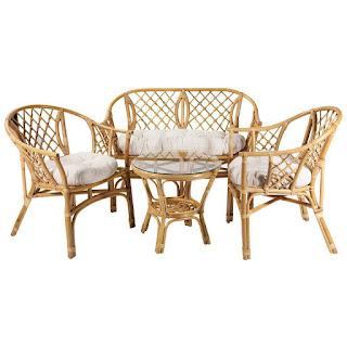Conjunto sillones sofa y mesa rattan natural Abileas