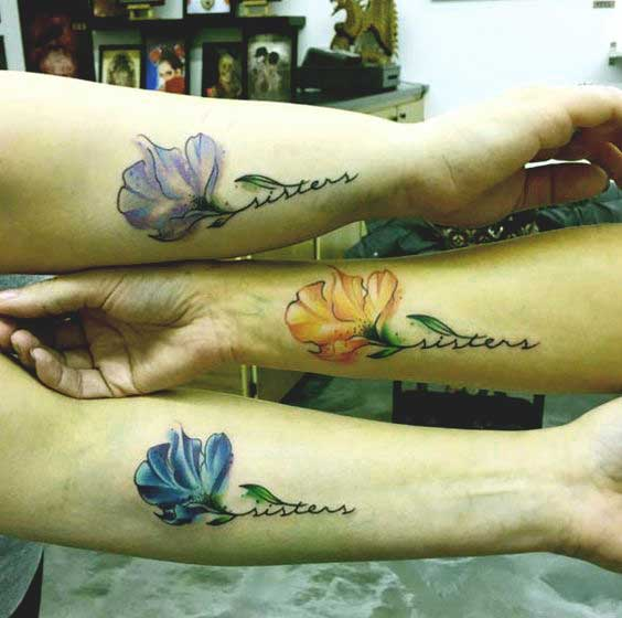 matching sibling tattoo ideas for 3 sisters