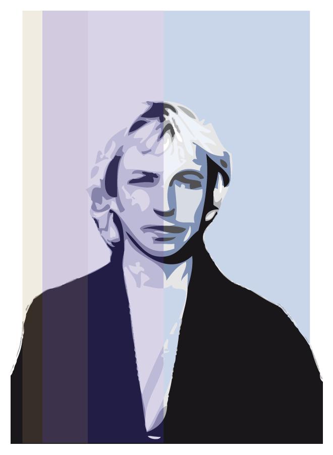 Ilustración retrato de Andy Summers. Autor Rodrigo L. Alonso