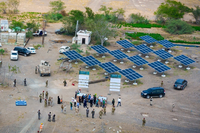Image Attribute: A solar panel installation in the outskirt of Aden to operate solar-powered submersible pumps / Source: Saudi Development and Reconstruction Program for Yemen (SDRPY)