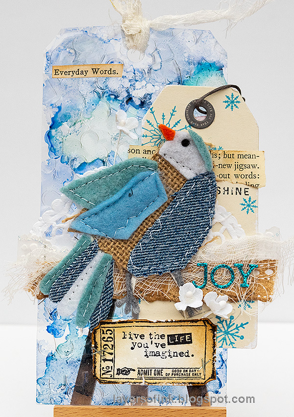Layers of ink - Winter Bird Tag by Anna-Karin Evaldsson.