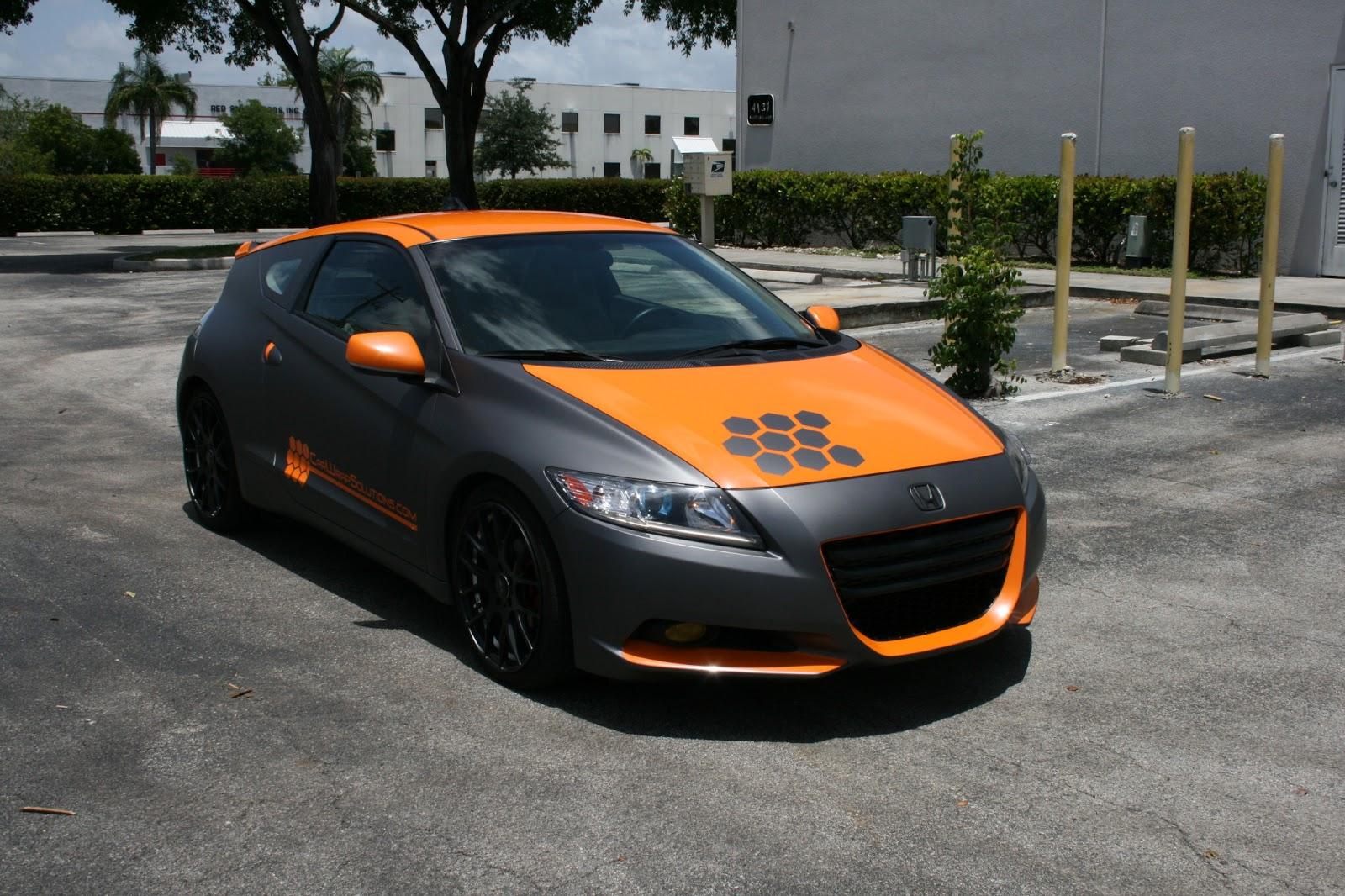 honda custom crz wrap matte cars miami silver race vinyl vehicle racing orange wraps grey florida carbon fiber stripe 3m