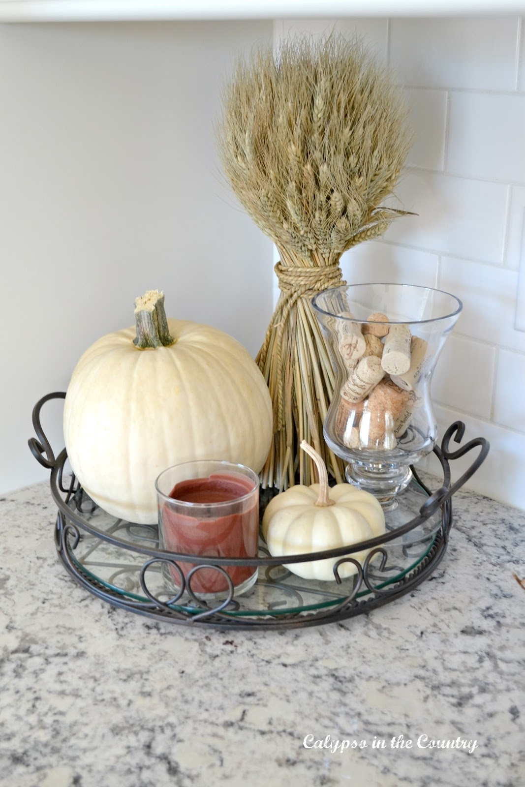 White Pumpkin vignette with Wheat Stalk on tray