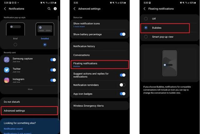 كيفية تفعيل ميزة فقاعات الإشعارات في هاتف سامسونج