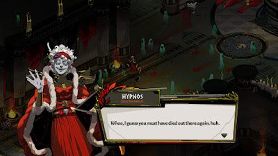 Hypnos greets Zagreus after a failed escape