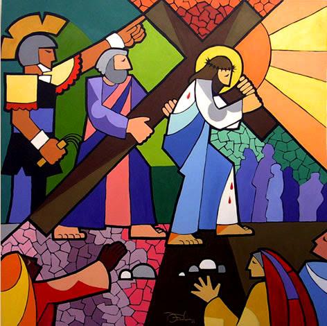 Resultado de imagem para jesus CARREGA A CRUZ TELA-DE