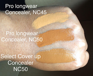 Mac cosmetics pro longwear concealer nc45 and nc50, mac select cover up nc50 swatched on dark skin