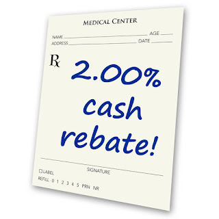 "Rx Script with the words, ""2% cash rebate"""