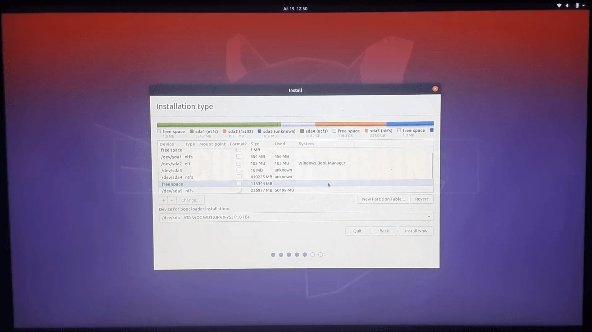 showing 115 GB of partition How Dual Boot Ubuntu